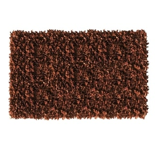 Brown Leather Shaggy Area Rug (8' x 10') - 8' x 10'
