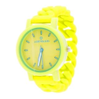 Airwalk Silicone Stretch Enamel Round Yellow Watch