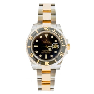 Pre-Owned Rolex Men's Submariner Model 116613 Two-tone Black Diamond Dial Watch
