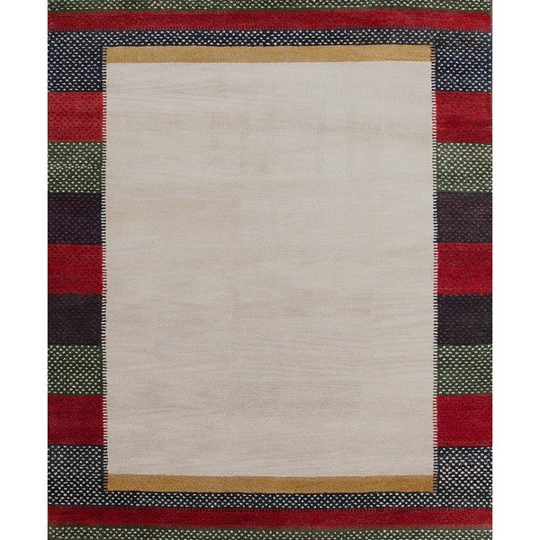 Stylish Beige Wool Rug (5' x 8')
