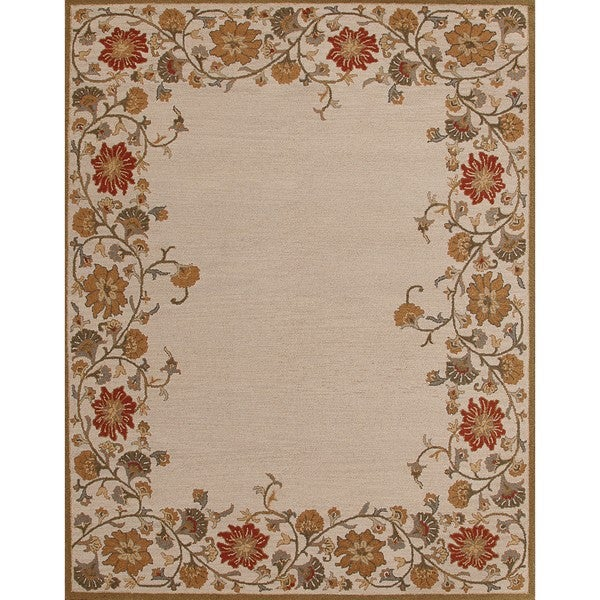 Floral Patterened Beige Wool Rug (8' x 10')