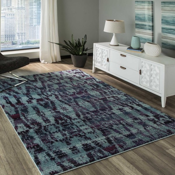 Abode Blue Power-Loomed Abstract Texture Rug (2' x 3')