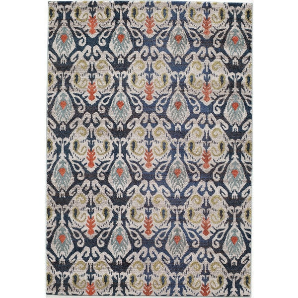 Abode Navy Power Loomed Ikat Rug 5 3 X 7 6 Free