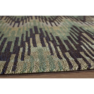 Abode Green Power-Loomed Frequency Rug (5'3 x 7'6)