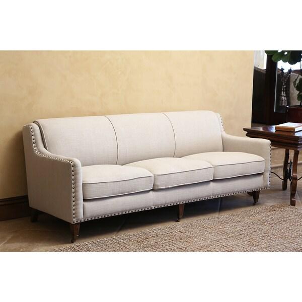 abbyson monica pedersen grey linen nailhead sofa - Nailhead Sofa