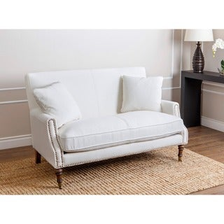 Abbyson Monica Pedersen Ivory Linen Nailhead Settee with Pillows