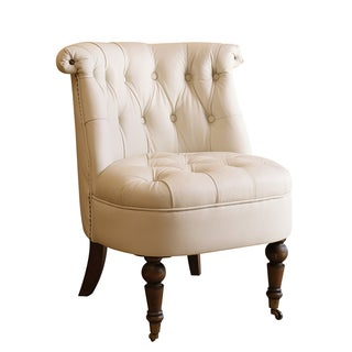 Abbyson Monica Pedersen Ivory Leather Barrel Chair by