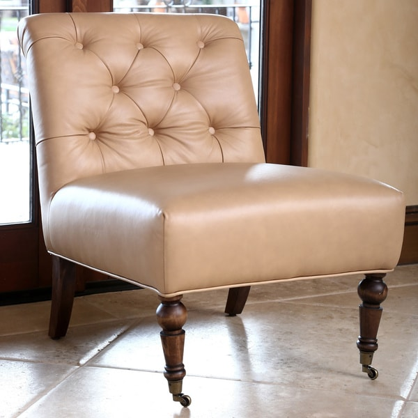 Abbyson Monica Pedersen Camel Tufted Leather Chair By