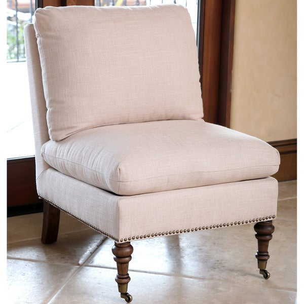 Abbyson Monica Pedersen Beige Linen Slipper Chair by. Opens flyout.