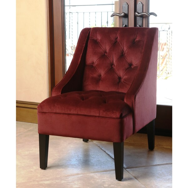 Abbyson Living Laguna Tufted Burgundy Swoop Chair Free