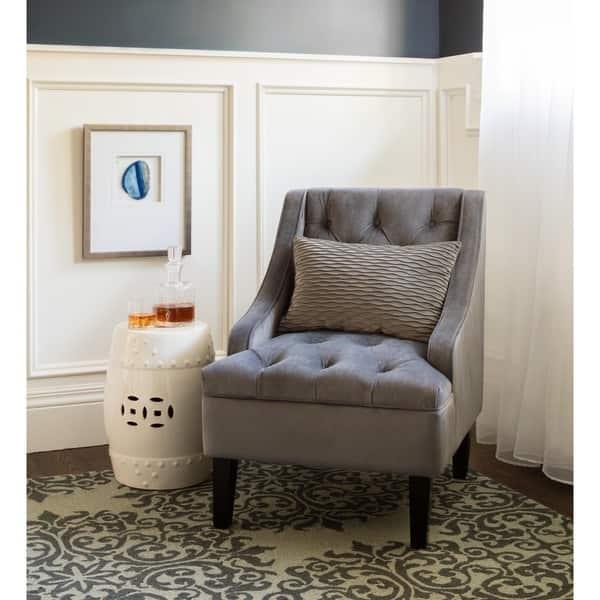 Shop Abbyson Laguna Tufted Velvet Steel Blue Accent Chair ...