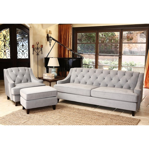 abbyson living claridge velvet fabric 3 piece steel blue sofa