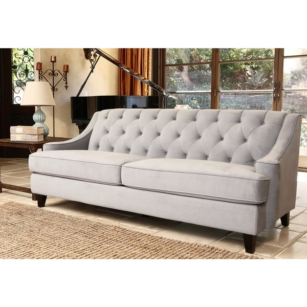 Abbyson Living Claridge Steel Blue Velvet Fabric Tufted Sofa Free Shipping Today Overstock