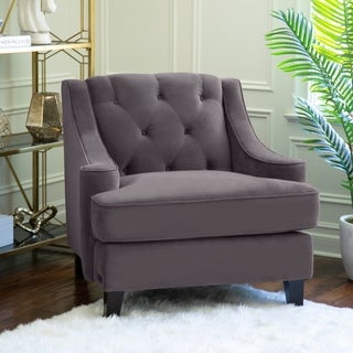 ABBYSON LIVING Claridge Dark Grey Velvet Fabric Tufted Armchair