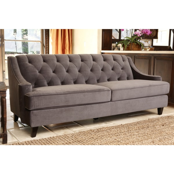 Abbyson Claridge Button Tufted Grey Velvet Upholstered Sofa - Free Shipping Today - Overstock ...