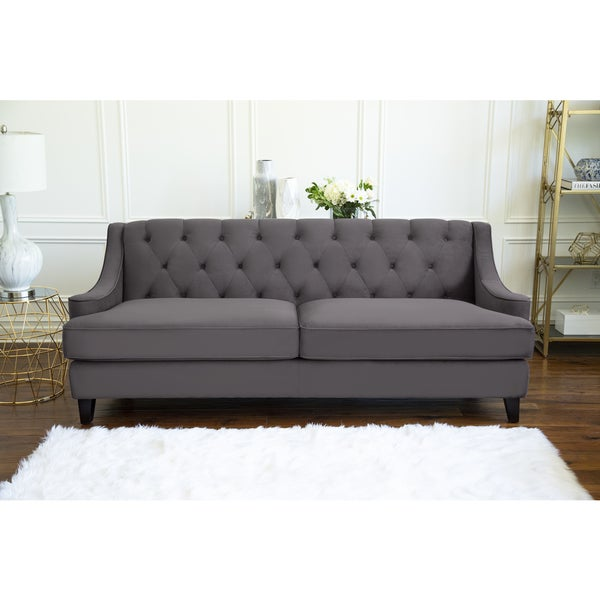 Gray Velvet Sectional Sofa: Shop Abbyson Claridge Dark Grey Velvet Fabric Tufted Sofa