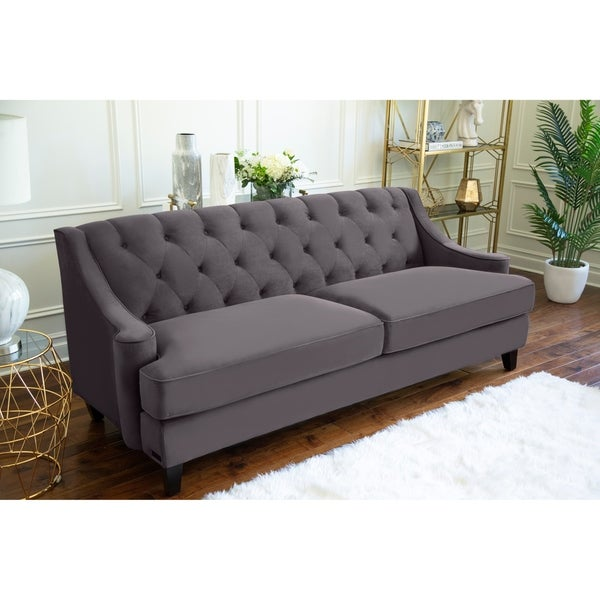 Abbyson Claridge Dark Grey Velvet Fabric Tufted Sofa