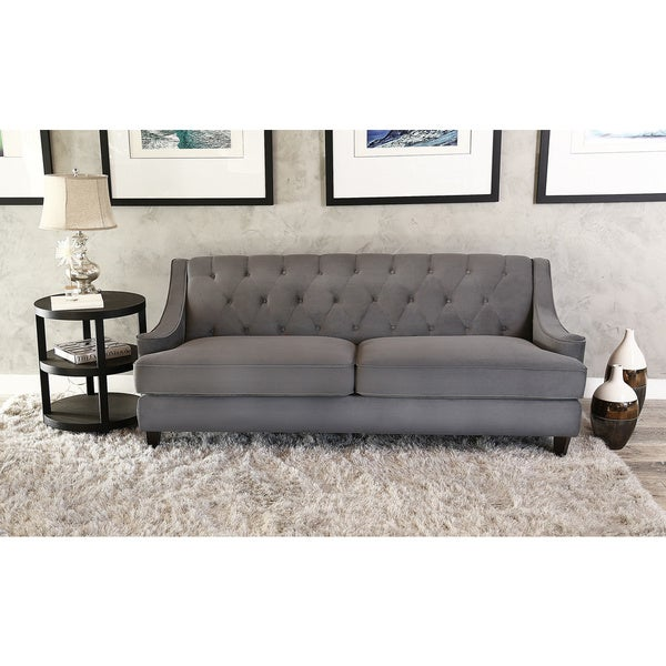 Dark Grey Velvet Sofa: Shop Abbyson Claridge Dark Grey Velvet Fabric Tufted Sofa