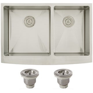 Ticor 4414BG-BASK 33-inch 16-gauge Curved Front Double Bowl Undermount Apron Kitchen Sink