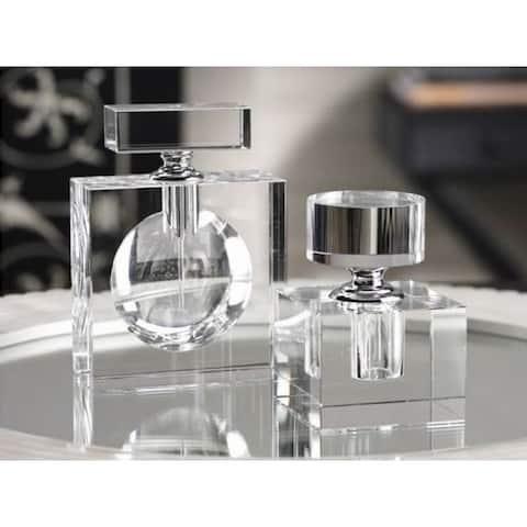 """Amari"" 4.25"" Tall Glass Perfume Bottle, Cube Shaped"