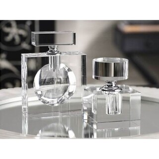 """Amari"" 4.25"" Tall Glass Perfume Bottle, Cube Shaped"