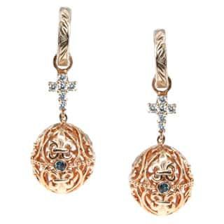 Dallas Prince Sterling Silver Filigree Egg Blue Topaz and Cubic Zirconia Dangle Earrings|https://ak1.ostkcdn.com/images/products/9421380/P16608373.jpg?impolicy=medium
