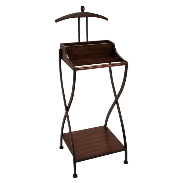 smart suit wood and metal clothes butler valet stand