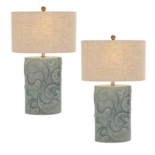 Bella Paisley Seafoam 28-inch Ceramic Table Lamp (Set of 2)