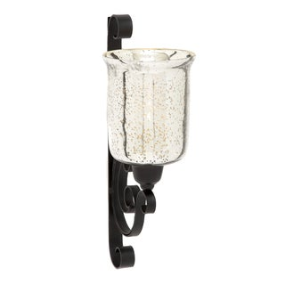 Luminous Antique Black Glass Candle Wall Sconce
