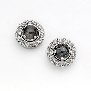 Diamonds for a Cure by Neda Behnam 18k White Gold 4 1/3ct TDW Diamond and Grey Rough Stud Earrings (H-I, SI1-SI2)
