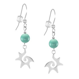 Jewelry by Dawn Sterling Silver Light Jade Green Starburst Dangle Earrings