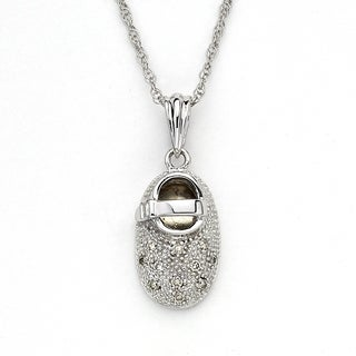 Diamonds For A Cure by Samuel B. 14k Gold Little Feet Collection 1/5ct TDW Diamond Pendant Necklace (I-J, I2-I3)