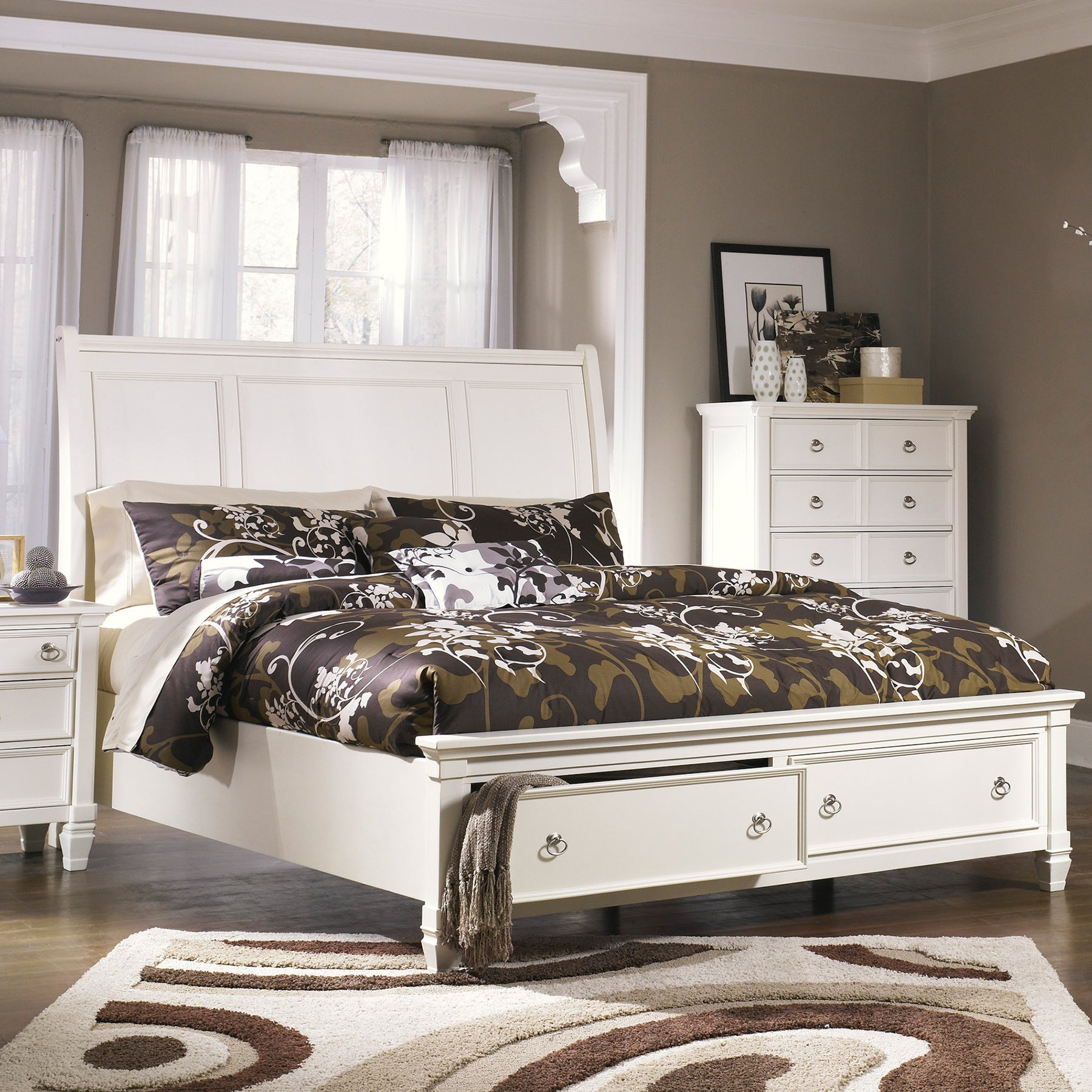 Ashley Prentice White Sleigh Storage Bed (King-size Bed, ...