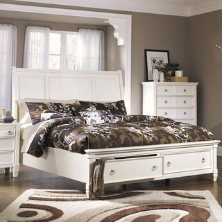 Signature Design by Ashley Prentice White Sleigh Storage Bed