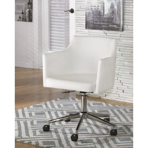 Baraga Contemporary Home Office Swivel Desk Chair White