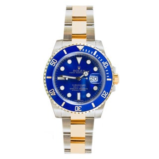 Pre-Owned Rolex Model 116613 Men's Two-tone Blue Ceramic Bezel and Dial Submariner Watch