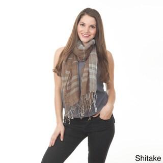 Plaid Design Linen Shawl