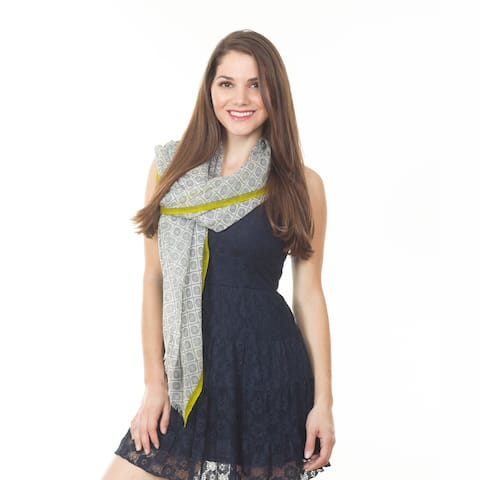 Grey Ikat Design Wool Shawl