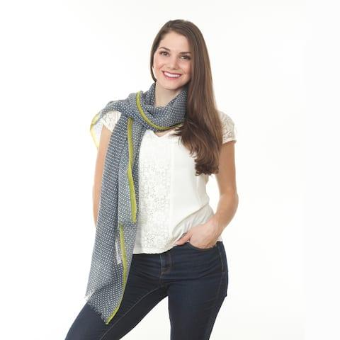 Women's Blue Dotted Wool Shawl