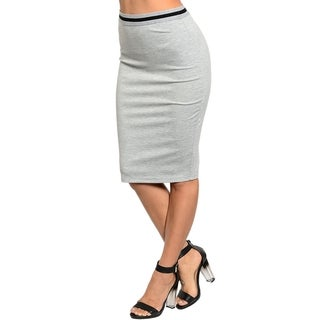 Stanzino Women's Grey Banded High-waist Skirt