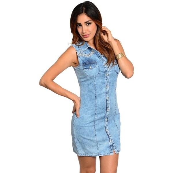 Brilliant NEW Womens Longline Denim Shirt Dress Ladies Jean Dresses Size 8 10 12