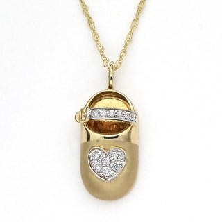 Diamonds For A Cure by Samuel B. 14k Gold 'Little Feet Collection' 1/6ct TDW Diamond Pendant Necklace (I, I2-I3)
