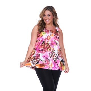 White Mark Women's Plus Size Pink Butterfly Tank Top