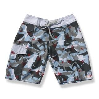 Azul Swimwear Boys 'Shark Attack' Blue and Grey Board Shorts