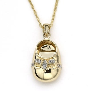 Diamonds For A Cure by Samuel B. Little Feet Collection 14k Yellow Gold Diamond Accent Pendant Necklace