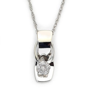 Diamonds For A Cure by Samuel B. Little Feet Collection 18k White Gold Diamond Accent Baby Shoe Pendant