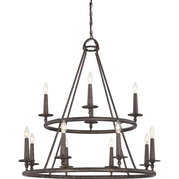 Quoizel Voyager 12 Light Malaga Two Tier Chandelier