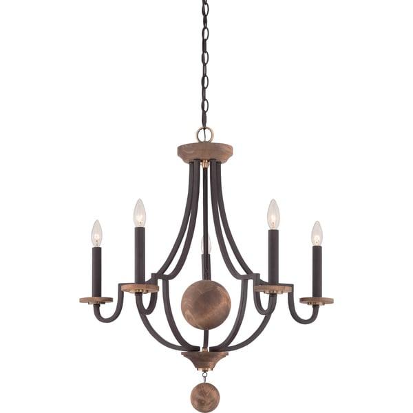 Western Foyer Lighting : Shop quoizel wyndmoor light western bronze chandelier