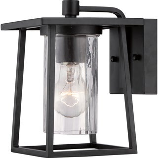 Lodge 100-watt Mystic Black Finish Small Wall Lantern