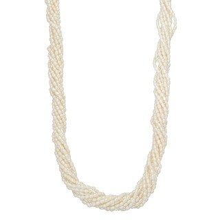 Gioelli Sterling Silver Freshwater Pearl Twist Necklace (2 mm)